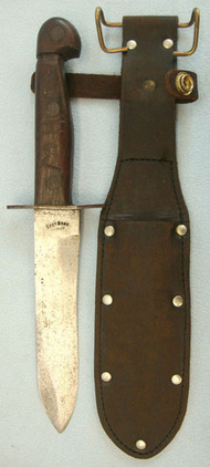East Bros. Sydney, Australian Wood Gripped Fighting Knife & Leather Sheath By Ea  Blades