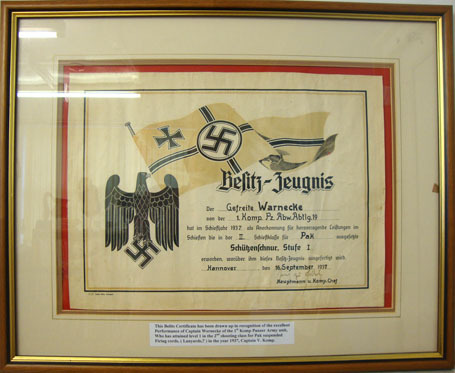WW2, 1937 Dated, German Shooting Certificate An Original Large Framed WW2, 1937 Dated, German Shooting Certificate with Engli Accessories