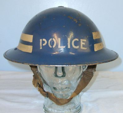 British Police Inspector's Tommy Helmet Marked '7' With Liner & Chinstrap. Home Front, British Police Inspector's Tommy Helmet Marked '7' With Liner & Chin Accessories