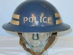 British Police Inspector's Tommy Helmet Marked '7' With Liner & Chinstrap. Home Front, British Police Inspector's Tommy Helmet Marked '7' With Liner & Chin