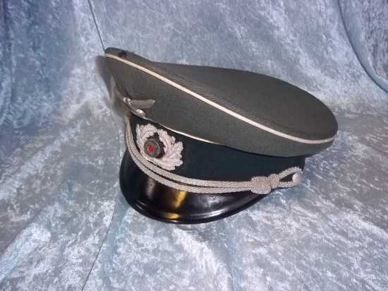 WW2 German Army 3rd Army Officer's Peaked Cap by G. Aschenneller of Munich  Accessories
