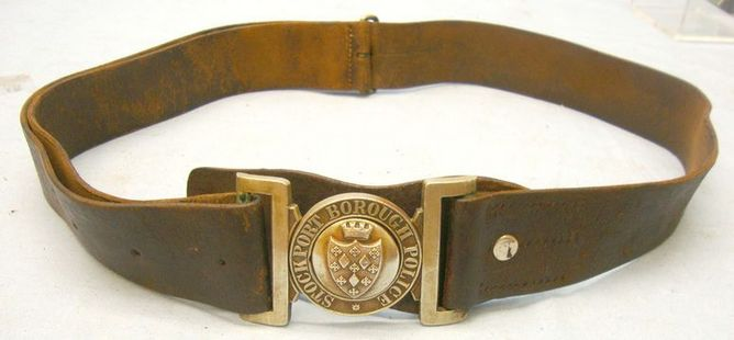 Stockport Borough Police Constable's & Sergeant's Leather Belt With Constabulary Victorian English Stockport Borough Police Constable's & Sergeant's Leather Belt Accessories
