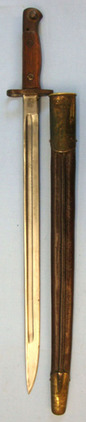 Sanderson British 1907 'Sanderson' Bayonet With Indian Brass Mounted Scabbard.  Blades