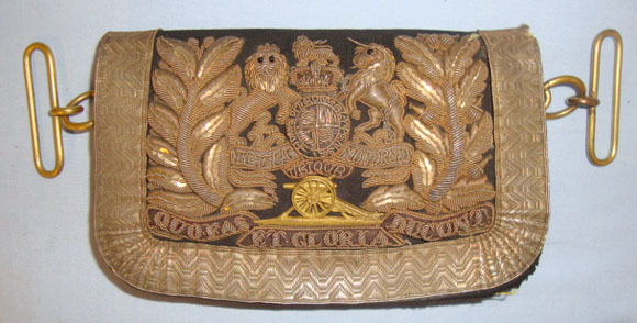 Victorian Royal Artillery Officer's Silver Bullion Shoulder Belt Pouch. Royal Artillery Officer's Silver Bullion Shoulder Belt Pouch. Accessories