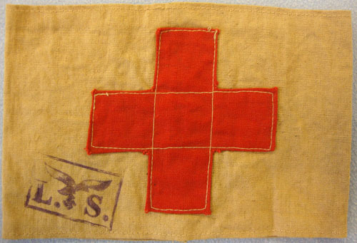 WW2 German Medic Red Cross 2 Piece Arm Band With L. S. (Pilot School) and the Lu WW2 German Medic Red Cross 2 Piece Arm Band With L. S. (Pilot School) and the Lu Accessories