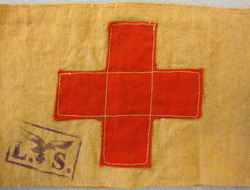WW2 German Medic Red Cross 2 Piece Arm Band With L. S. (Pilot School) and the Lu WW2 German Medic Red Cross 2 Piece Arm Band With L. S. (Pilot School) and the Lu