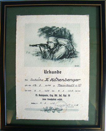 German WW2 Signed Certificate Of Training, To Rifleman K. Hohenberger, Dated 193 Original Researchable German WW2 Signed Certificate Of Training, To Rifleman K.  Accessories
