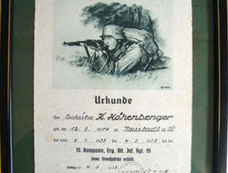 German WW2 Signed Certificate Of Training, To Rifleman K. Hohenberger, Dated 193 Original Researchable German WW2 Signed Certificate Of Training, To Rifleman K.