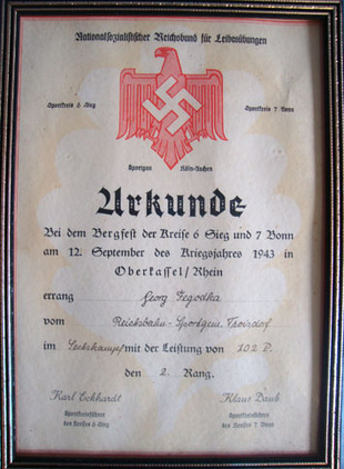 German N.S.R.B.L. National Socialist League of the Reich for Physical Exercise C Original WW2 German N.S.R.B.L. National Socialist League of the Reich for Physic Accessories