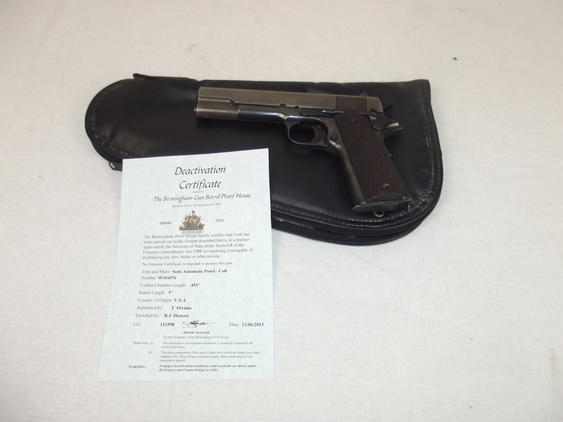 Rare New Specification Deactivated Colt 1911 Eley .455 Cal Cartridge Semi-Automa  Pistol / Hand Guns