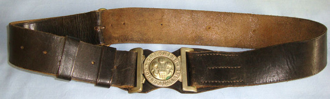 WW1 Period Cheshire Constabulary Uniform Leather Waist Belt, Buckle and Clasp WW1 Period Cheshire Constabulary Uniform Leather Waist Belt, Buckle and Clasp Accessories
