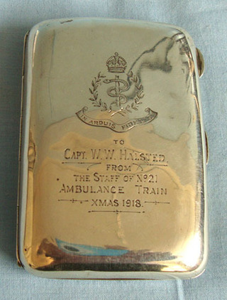WW1 'Xmas 1918' Hallmarked Silver Presentation Cigarette Case To Capt. W.W. Hals WW1 'Xmas 1918' Hallmarked Silver Presentation Cigarette Case To Capt. W.W. Hals Accessories
