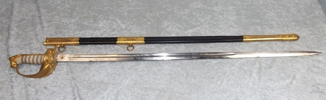 1827 Pattern Royal Navy Officer's Dress Sword and Scabbard By Gieves  Blades