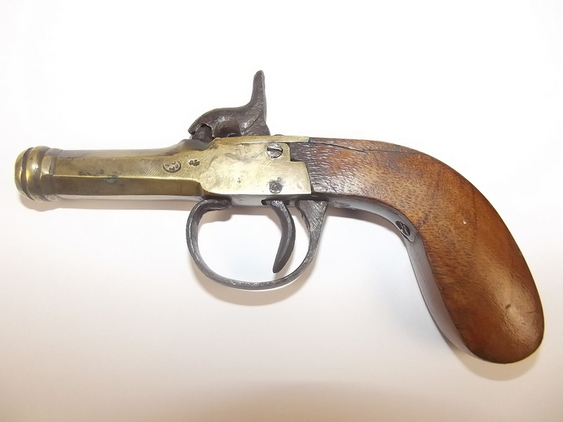 19th Century, Brass Octagonal Cannon Barreled Percussion Pocket Pistol  Pistol / Hand Guns