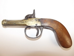 19th Century, Brass Octagonal Cannon Barreled Percussion Pocket Pistol    Muzzleloader