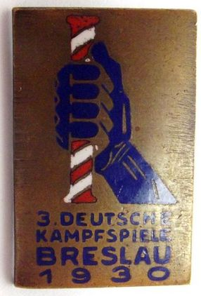 1930's 3rd Reich Breslau Fighting Games Participation Pin Badge  Accessories