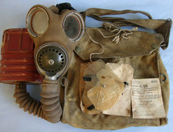 Military Issue Gas Mask and Front Pack To Police Constable P. Dobson, Bury Polic Military Issue Gas Mask and Front Pack To Police Constable P. Dobson, Bury Polic
