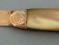 Victorian 1884-85 Hallmarked Silver Bladed Pocket Knife With Mother Of Pearl Sla  Knives