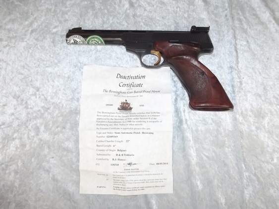 A New Specifications Deactivated 1970's Belgium Browning Sport Semi-Auto Pistol   Pistol / Hand Guns
