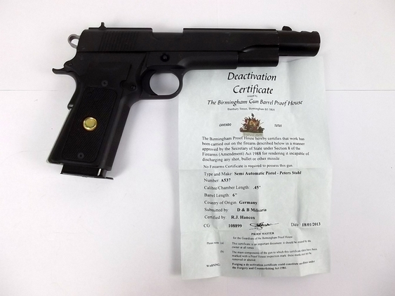 New Specification Deactivated Peter Stahl Model Colt 1911  Pistol / Hand Guns
