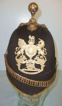 Post 1901, Home Service Pattern, Scottish, 1st Forfarshire Volunteer Artillery B Post 1901, Home Service Pattern Cloth Helmet With Ball Top Accessories