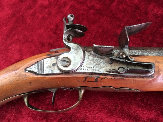German made Military Flintlock Officer's Pistol by Johanes Kauchen. Ref 7596 Pistol / Hand Guns