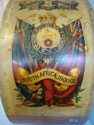 Hawkes & Sons. Denman Street, Piccadilly Circus, London Large Kings Crown Hand Painted Military Band Bass Drum To The East Lancashire 'O Accessories