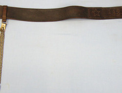 Japanese Army Officer's Brown Leather Sword Belt and Rare Brass Chain Sword Hang Japanese Army Officer's Brown Leather Sword Belt and Rare Brass Chain Sword Hang