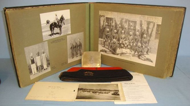 1930's Official Regimental Photograph Album, A Field Service Cap & A Cigarette C 1930's Official Regimental Photograph Album, A Field Service Cap & A Cigarette C Accessories