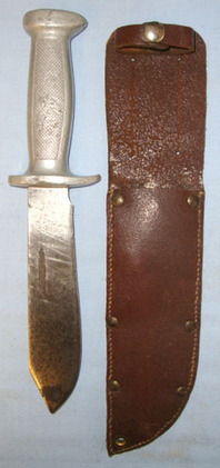 French Indo China / Vietnam War Era Aluminium Handled Combat Dagger & Scabbard.  Blades
