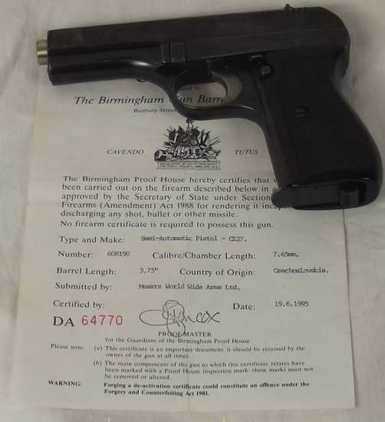 Old Specification Deactivated CZ27 Semi-Automat  Pistol / Hand Guns