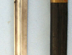 Brazilian 1908 Pattern Bayonet & Brass Mounted Leather Scabbard  Bayonets