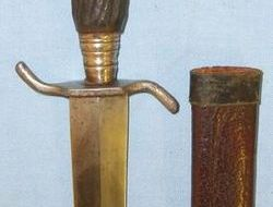 German Trench/Fighting Knife With Carved Wood Simulated Stag-Horn Hilt & Scabbar  Knives