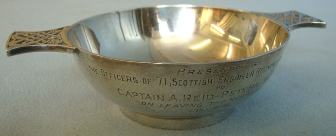 Silver Regimental Scottish Drinking Cup To Scottish Volunteer Engineer Regiment. Silver Regimental Scottish Drinking Cup To Scottish Volunteer Engineer Regiment. Accessories