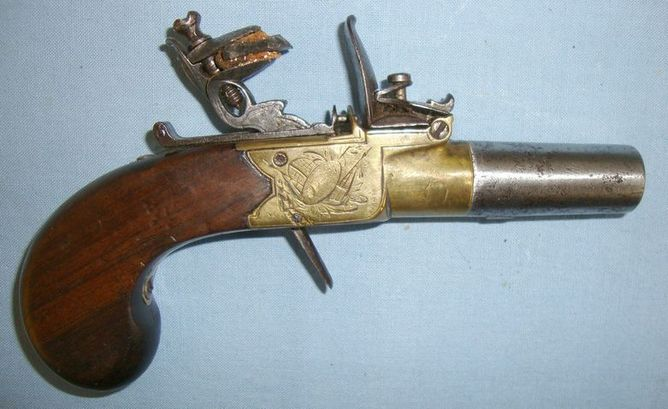 Clabrough Of Lincoln & Birmingham English, Brass Framed Flintlock Pocket Pistol With Screw Off Barrel Pistol / Hand Guns