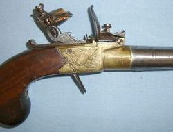 Clabrough Of Lincoln & Birmingham English, Brass Framed Flintlock Pocket Pistol With Screw Off Barrel   Muzzleloader