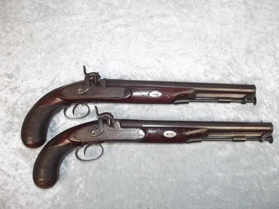 Pair of 18th Century Duelling Percussion Pistols by H.W. Mortimer of London  Pistol / Hand Guns