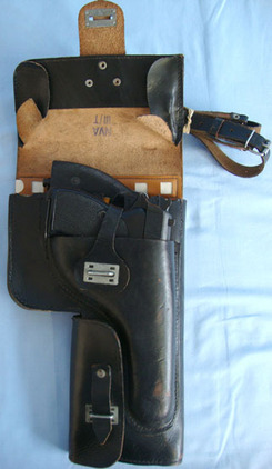 Post WW2 East German Leather Flare Gun Holster To Fit Various Weapons and Flare Post WW2 East German Leather Flare Gun Holster To Fit Various Weapons and Flare  Accessories