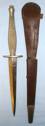 2nd Pattern, British Officer's, Nickel Plated, Fairbairn Sykes FS Fighting Knife  Blades