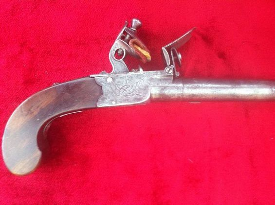English single barrelled flintlock pocket pistol with fold down trigger. Ref 7387 Pistol / Hand Guns