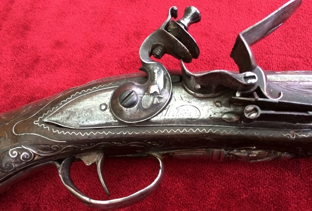 Balkan Flintlock pistol with heavy silver mounts. Ref 7576 Pistol / Hand Guns