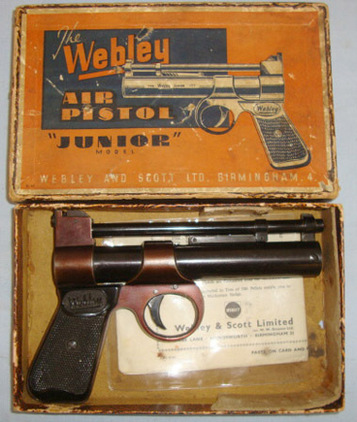 Webley / Webley & Scott Junior .177 Calibre Air Pistol With Original 1965 Dated Illustrated Instruction  Air Guns