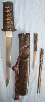 Ancient Blade (C1584) Japanese Tanto By Sukesada With Double Signed Tang & Scabb Ancient Blade (C1584) Japanese Tanto By Sukesada With Double Signed Tang & Scabb Blades