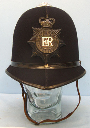 Bedfordshire Police Male Constable\'s/ Sergeant\'s Blue Serge Police Helmet With Bedfordshire Police Male Constable's/ Sergeant's Blue Serge Police Helmet With B Accessories