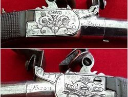 A good French Napoleonic period flintlock pocket pistol. Made by Fatou A Paris.  Ref 7763.   Muzzleloader