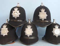 Police Male Constable\'s / Sergeant\'s Blue Serge Queen\'s Crown Helmets With Ba Police Male Constable's / Sergeant's Blue Serge Queen's Crown Helmets With Ball