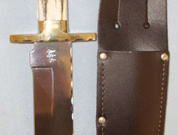 Arthur Wright & Son Bowie Knife With Stag Horn Grips & Sheath.  Knives