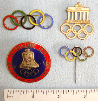 1936 Nazi Germany Olympic Games Enamelled Lapel Pin Badges With Nazi Quality Ins Original Collection Of 4, 1936 Nazi Germany Olympic Games Enamelled Lapel Pin Ba Accessories