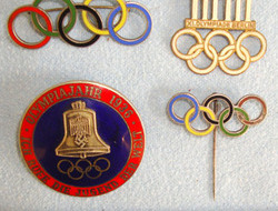 1936 Nazi Germany Olympic Games Enamelled Lapel Pin Badges With Nazi Quality Ins Original Collection Of 4, 1936 Nazi Germany Olympic Games Enamelled Lapel Pin Ba