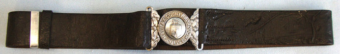 Victorian Period County Borough Police Uniform Leather Waist Belt, Buckle and Cl Halifax County Borough Police Uniform Leather Waist Belt, Buckle and Clasp.  Accessories